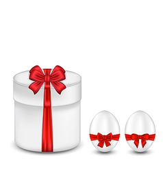 Easter gift box with red bow and eggs vector