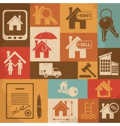 Real estate retro icon set vector