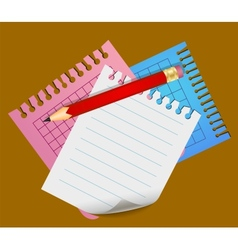 Pencil and lined note papers vector