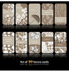 Set of ten floral card vector