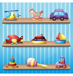 Three wooden shelves with toys vector