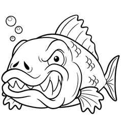 Fish angry outline vector