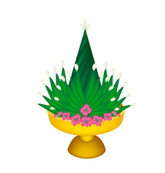 Banana leaf for rituals decorated on tray vector