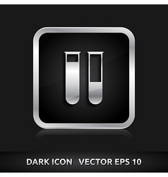 Test tubes laboratory icon silver metal vector