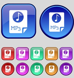 Audio mp3 file icon sign a set of twelve vintage vector