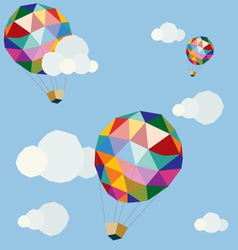 Polygonal balloons in blue sky vector