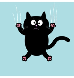 Cartoon black cat claw scratch glass background vector
