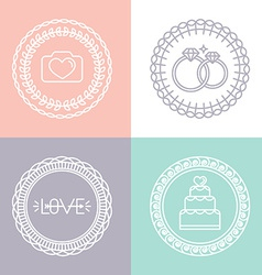 Wedding and engagement line logos vector