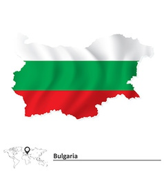 Map of bulgaria with flag vector