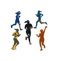 Female marathon runners retro set vector