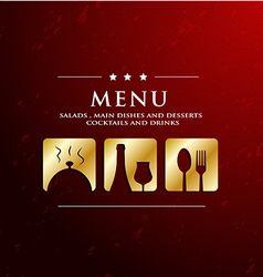 Menu restaurant with golden icon in ground vector