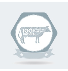 Premium beef label badge farm shop cow milk vector