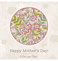 Mothers day card with big round of spring flowers vector