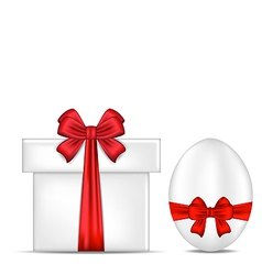 Easter gift box with red bow and egg vector