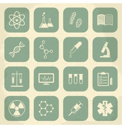 Retro science medical and education icons vector