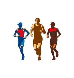 Triathlete marathon front collection retro vector