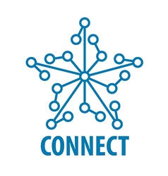 Logo connect to the star network vector