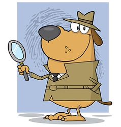 Smiling detective doggy holding a magnifying glass vector