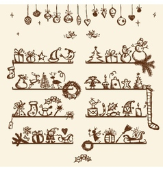 Christmas shop sketch drawing for your design vector