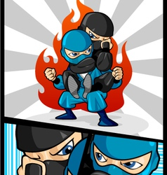Fighting ninja vector