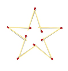 Star symbol made from matches vector