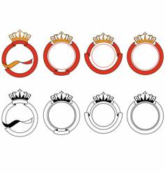 Ribbon and crown set vector