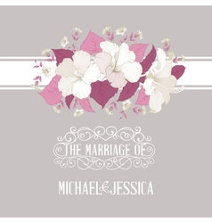 Marriage invitation with hibiscus vector