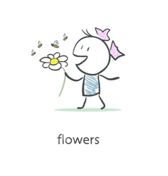 Girl and flower vector
