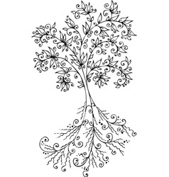 Floral decorative tree vignette 300 vector