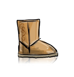 Winter boots ugg sketch for your design vector