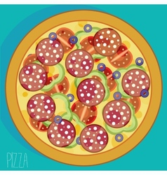Pizza with sausages vector