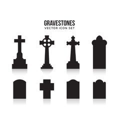 Tombstone silhouette icons isolated on white vector