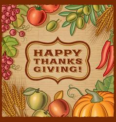 Thanksgiving retro card vector
