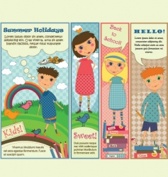 Vertical banners with cute kids vector