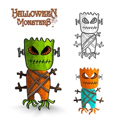 Halloween monsters scary mask trunk freak eps10 vector