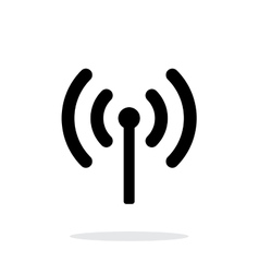 Radio antenna sending signal icon on white vector