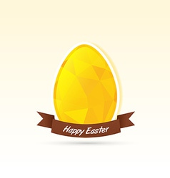 Polygonal yellow egg with happy easter banner vector