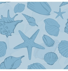 Seamless pattern of hand drawn seashells vector