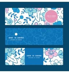 Blue and pink kimono blossoms horizontal vector