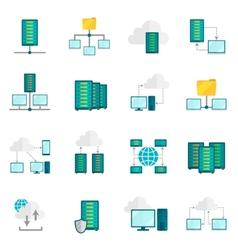 Hosting service flat icons set vector