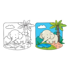 Elephant coloring book vector