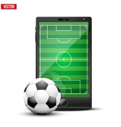 Smartphone with football ball and field on the vector