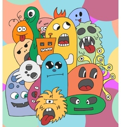 Funny cartoon monsters card vector