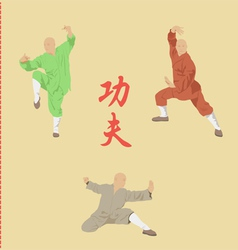 The group of men is engaged in kung fu vector