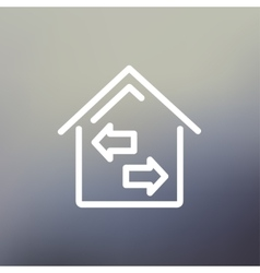 House with left and right arrow thin line icon vector