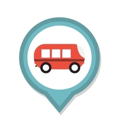 Line icon with flat graphics element of bus vector
