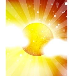 Orange shiny sun background vector