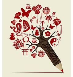 China tradition concept pencil tree vector