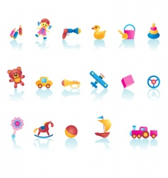 Kid toys icons vector