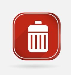 Basket garbage color square icon vector